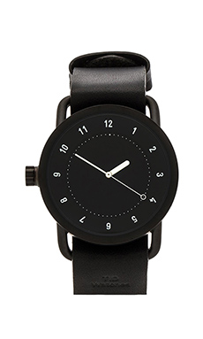 TID Watches No. 1 + Leather Wristband in Black & Black