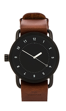 TID Watches No. 1 + Leather Wristband in Black & Tan