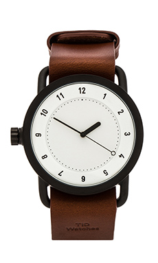 TID Watches No. 1 + Leather Wristband in White & Tan