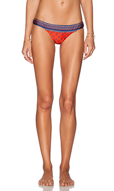 Tigerlily Agar Shiny Giselle Bikini Bottom in Naranja