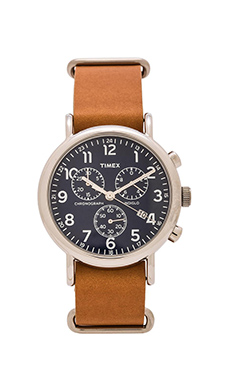 Timex The Weekend 40mm Chrono in Tan & Blue