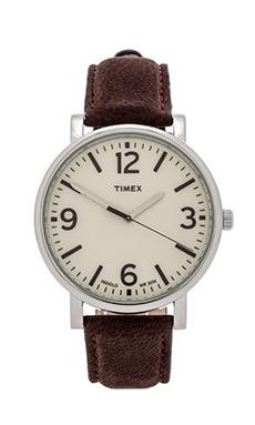 Timex Originals Classic Round 42mm in Silver & Tan & Dark Brown