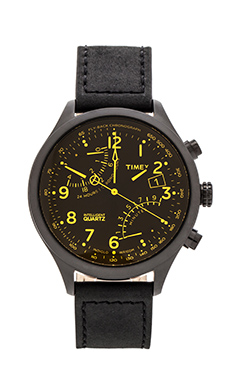 Timex Fly-back Chronograph in Black/ Black/ Amber