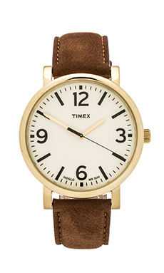 Timex Originals Classic Round 42mm in Yellow Gold/ Cream/ Tan