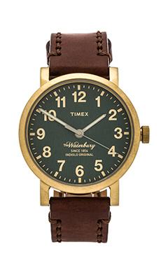 Timex The Waterbury in Brass/ Green/ Dark Brown