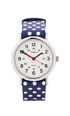 Timex The Weekend 38mm Reversible in Navy & White Dots