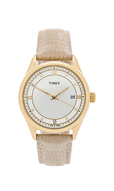 Timex Casual Dress in Yellow Gold & White & Beige