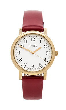 Timex Originals Classic Round 33mm in Yellow Gold/ White/ Deep Red
