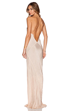 TITANIA INGLIS Long Plunge Dress in Nude & Black