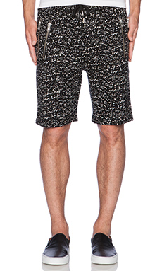 The Kooples Crackled Printed Fleece Short in Black White