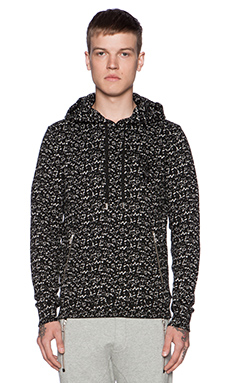 The Kooples Cracled Printed Fleece Pullover in Black