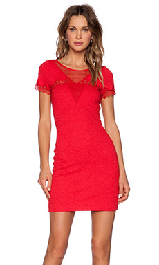 The Kooples Crinkle Mesh Dress in Red