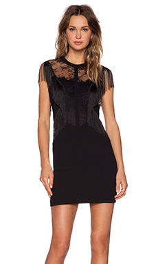 The Kooples Fringe Lace Dress in Black