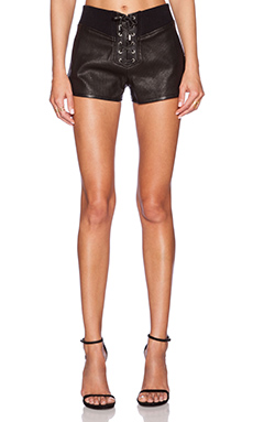 The Kooples Perforated Leather Short in Black