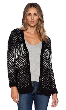 The Kooples Jacquard Fringe Cardigan in Black