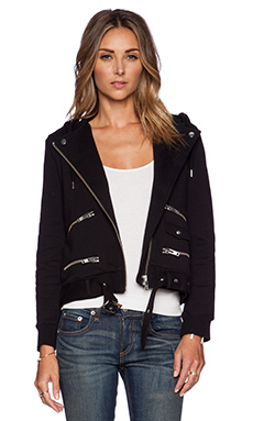 The Kooples Moto Hoodie in Black
