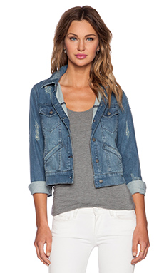 The Kooples Destroyed Denim Jacket in Blue