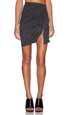 The Kooples Ruched Zipper Mini Skirt in Grey