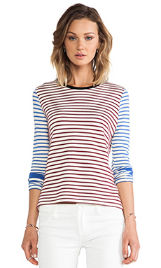The Lady & the Sailor Long Sleeve Crew in Fig & Mediterranean Stripe
