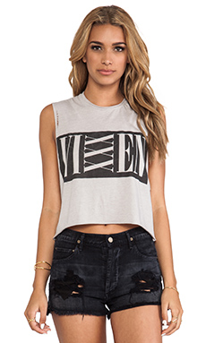 The Laundry Room Vixxen Thrashed Crop Muscle Tee in Grey