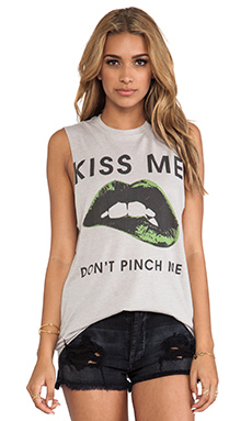 The Laundry Room Kiss Me Don't Pinch Me Muscle Tee in Grey