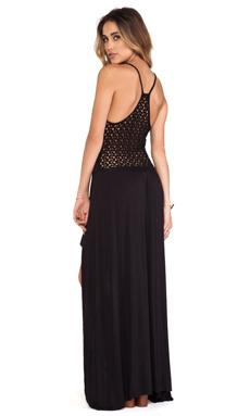 Tylie Crochet Back High Low Dress in Black