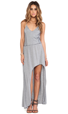 Tylie Mini Stripe High Low Dress in Charcoal