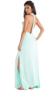 Tylie Cowrie Open Back Maxi Dress in Glass