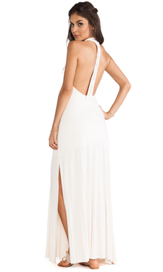 Tylie Cowrie Open Back Maxi Dress in Peach