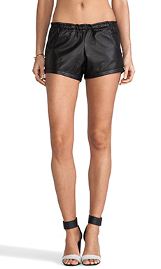 Tylie Leather Riding Shorts in Black
