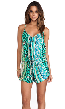 Tylie Mayan Sexy Racerback Romper in Sea