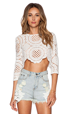 Toby Heart Ginger x Love Indie Balmain Crochet Top in Off White