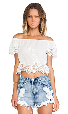 Toby Heart Ginger Windmill Crop Top in White