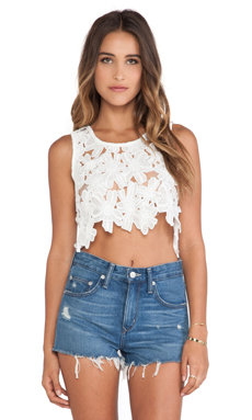 Toby Heart Ginger Daisy Delight Crop Tank in White