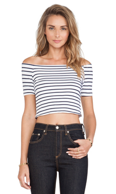 Toby Heart Ginger Mademoiselle Crop Top in White & Blue Stripe