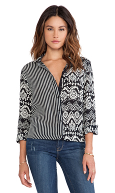 Tolani Olivia Blouse in Black & Ikat