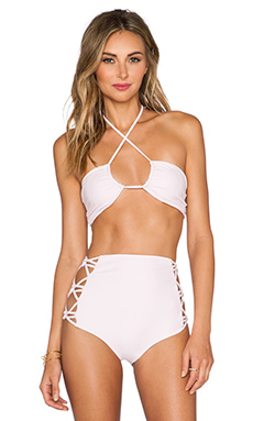 Tori Praver Swimwear Lotus Bikini Top in Rose