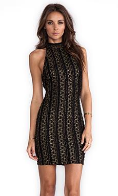 Torn by Ronny Kobo Claudia Halter Dress in Black/Gold
