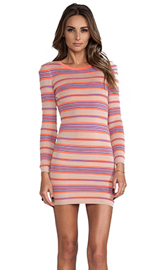 Torn by Ronny Kobo Malena Ottoman Stripes Dress in Coral Combo