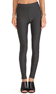 Torn by Ronny Kobo Geneva Zipper Pant in Heather Charcoal Stripe