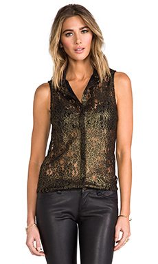 Torn by Ronny Kobo Ronit Shirt in Gold/Black