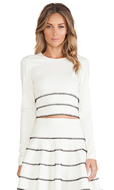 Torn by Ronny Kobo Lana Crop Top in Ivory