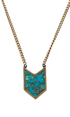 TORCHLIGHT Chevron Necklace in Turquoise & Brass