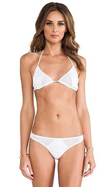Tyler Rose Swimwear Jarret Cutout Mesh Triangle Top in White