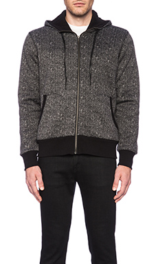 True Religion Herringbone Hoodie in Black Multi