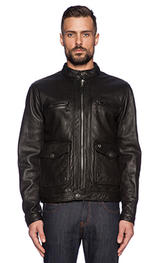 True Religion Solid Leather Racer Jacket in Black