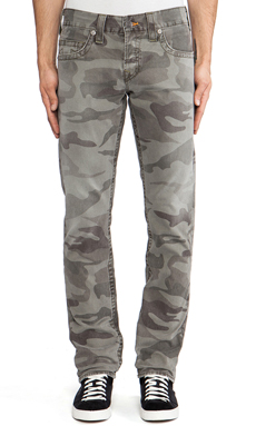 True Religion Geno Slim Straight in Dusty Olive Camo