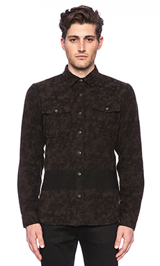 True Religion Military Camo Shirt in Sable Multi