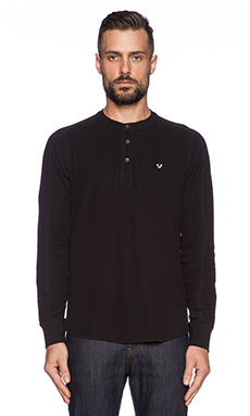 True Religion Panel Sleeve Henley in Black