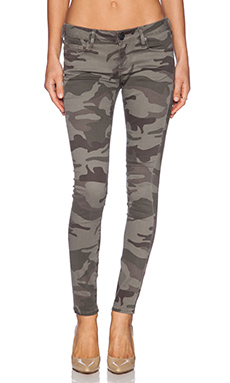 True Religion Casey Mid Rise Skinny in Bed Olive Camo